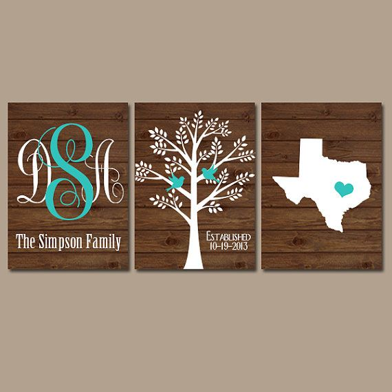 ★State Family Tree Monogram Wood Effect Wall Art Initials Wedding Shower Gift Last Name Date Tree Birds Custom Personalized Set of 3 Prints