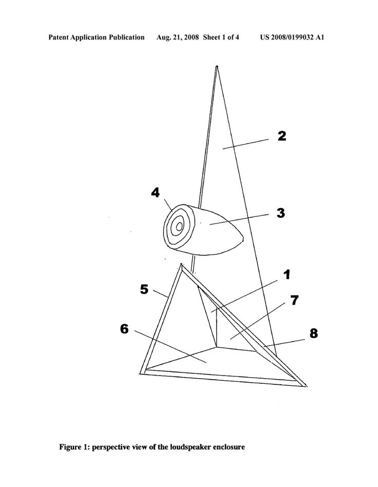 Loudspeaker enclosure with cylindrical compression chamber and tapered triangular folded horn terminating in an extended triangular bell. - ...