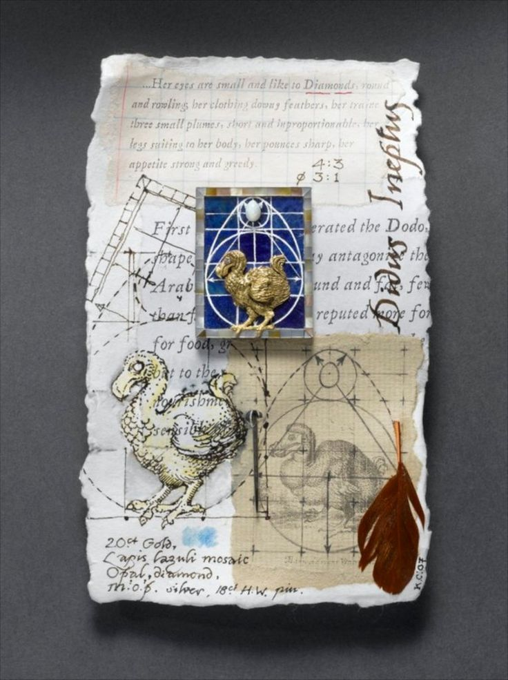 """KEVIN COATES DIDUS INEPTUS 20ct. gold, diamond, engraved lapis-lazuli mosaic, mother-of-pearl, opal, silver, 18ct. white gold pin. height (without pin) 37mm. width 29mm. From """"A Notebook of Pins."""" Photo: Clarissa Bruce"""
