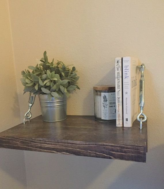 Floating Night Stands with Turn Buckles - Side Table - Rustic Wood Shelf - Modern Floating Nightstand Shelves - Turnbuckle Shelf by KnottyByNatureDecor