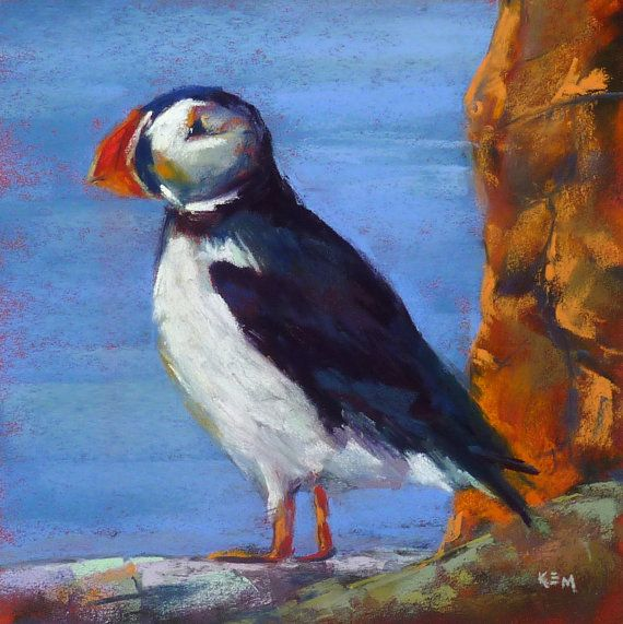ICELAND Art PUFFIN Original Pastel by KarenMargulisFineArt on Etsy, $165.00