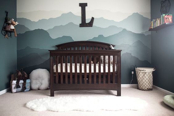 Mountain themed woodland nursery for baby boy! #nursery #babyboy #mountain #mural