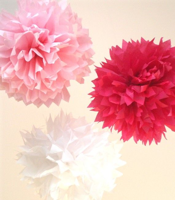 17 best images about baby shower pink baby birds on for Pom pom room decor