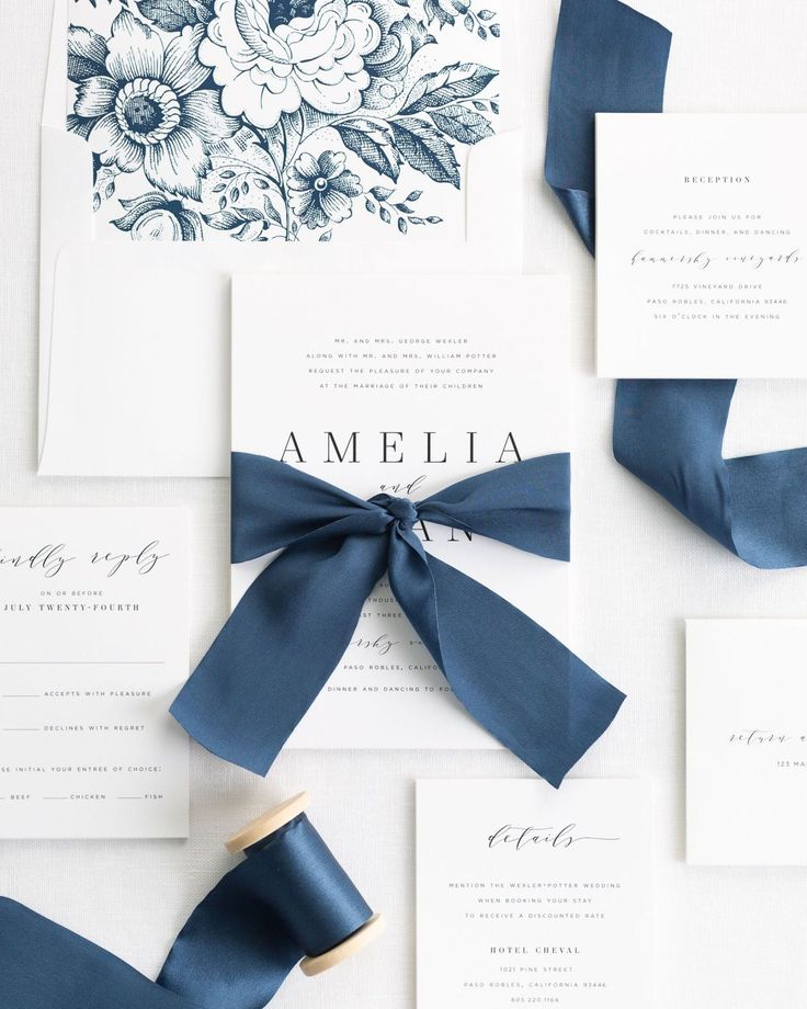Blue Wedding Invitations with Silk Ribbon From Shine Wedding Invitations