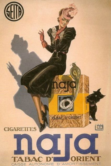 coololdthings:  Naja cigarettes courtesy of Vintage Advertising and Poster Art