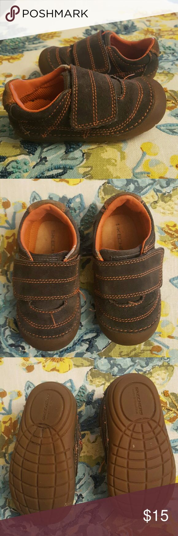 Sketchers Sneakers Sketchers Sneakers gray and orange baby shoes,size 6. Skechers Shoes Baby & Walker