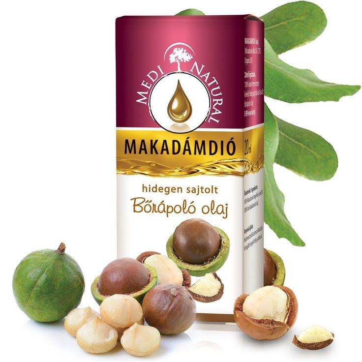 MediNatural Makadámdió hidegen sajtolt bőrápoló olaj 20ml -rendkívül bőrbarát, hatóanyagokban gazdag mélyen felszívódó tápláló olaj. Értékes összetevőivel minden bőrtípus előnyére válik! Száraz, érzékeny, irritált, vegyes és zsíros bőrt is képes regeneráló és hidratáló tulajdonságaival finom puhává tenni!  Ideális választás a legérzékenyebb Baba bőr ápolására is! Kiválóan vegyül az illóolajokkal, ezért tökéletes választás hordozóolajként aromaterápiás felhasználásra is.