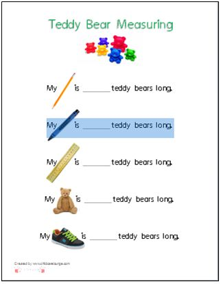A printable for using Teddy Bear Counters to measure common items