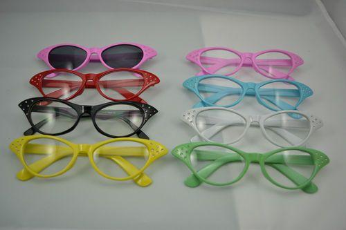 Pink ladies 50s flyaway fancy dress glasses red green yellow black white grease | eBay