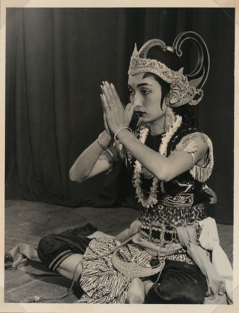 Female dancer playing a refined male character, possibly Arjuna - Indonesia. Kementerian Penerangan -- Photographer