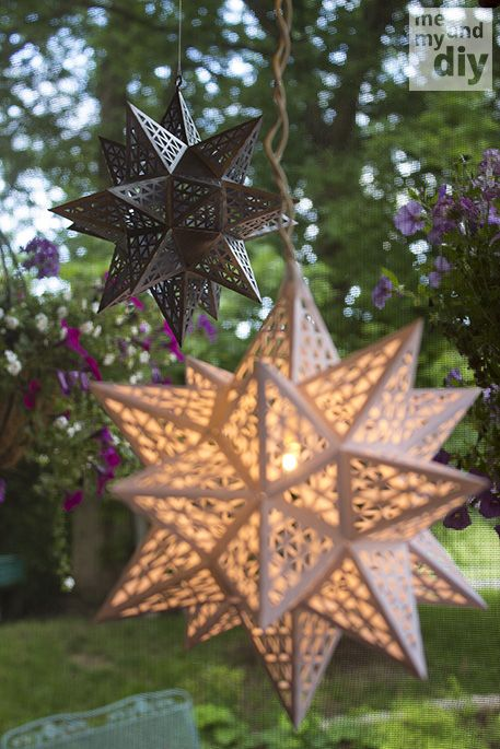 Paper star tutorial -- these are AMAZING!!!!  Cut-outs for inside... roses to match current decor.