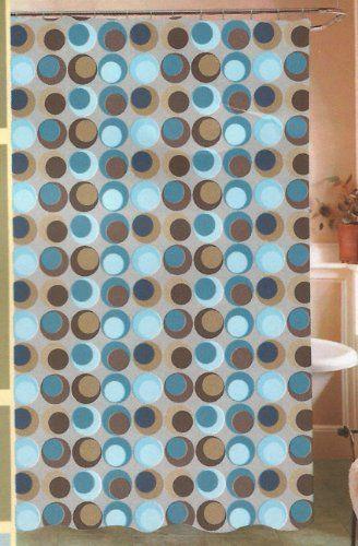 Amazon.com   Circus Geo Geometric Circles Big Dots PEVA Vinyl Shower Curtain  Browns U0026