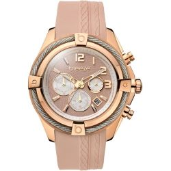 BREEZE Flirtini Rose Gold Pink Rubber Chronograph 110211.16