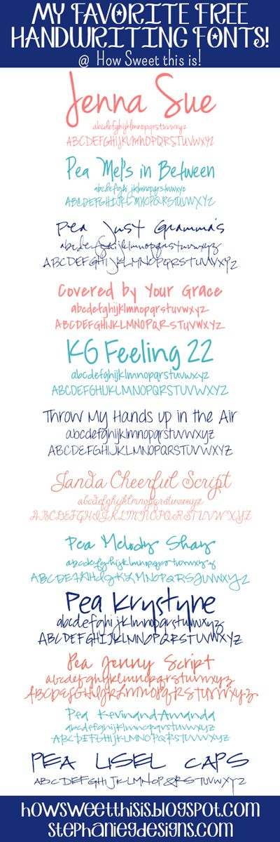 My Favorite Free Handwriting Fonts - How Sweet This Is Jenna Sue | Pea Mel's In Between | Pea Just Gramma | Covered by Your Grace | KG Feeling 22 | Throw my hands up in the Air | Janda Cheerful Script | Pea Melody Shay | Pea Krystyne | Pea Jenny Script | Pea KevinandAmanda | Pea Lisel Caps