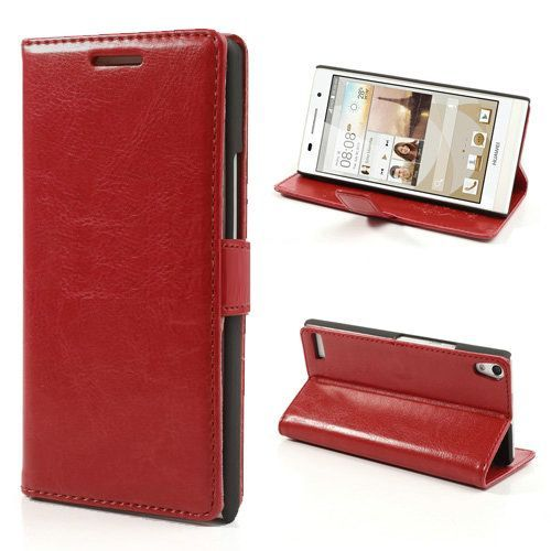 Rood booktype hoesje voor Huawei Ascend P6
