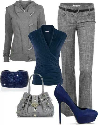 Navy blue and grey