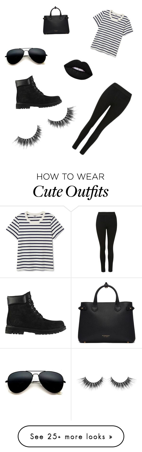 """""""Cute casual black outfit day"""" by allcam on Polyvore featuring Burberry and Timberland"""