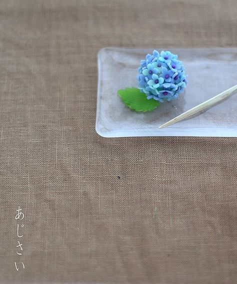 . Today I made japanese confection #nerikiri which is hydrangea shaped