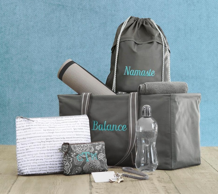 Great ideas for the yoga enthusiast- CINCH SAC, LARGE UTILITY TOTE, ZIPPER POUCH AND COSMETIC BAG