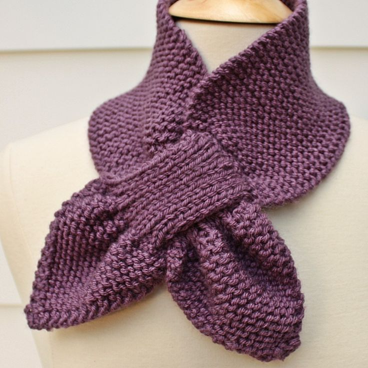 Knit Scarf Keyhole Scarf Scarflette Purple Winter Diy
