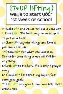back to schoolBack To Schools, 7Up, Cute Ideas, 1St Weeks, Young Women, Kids, Schools Years, Good Advice, Backtoschool