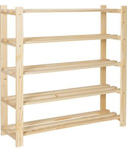 5-Tier Part-Assembled Shoe Rack - Solid Unfinished Pine.