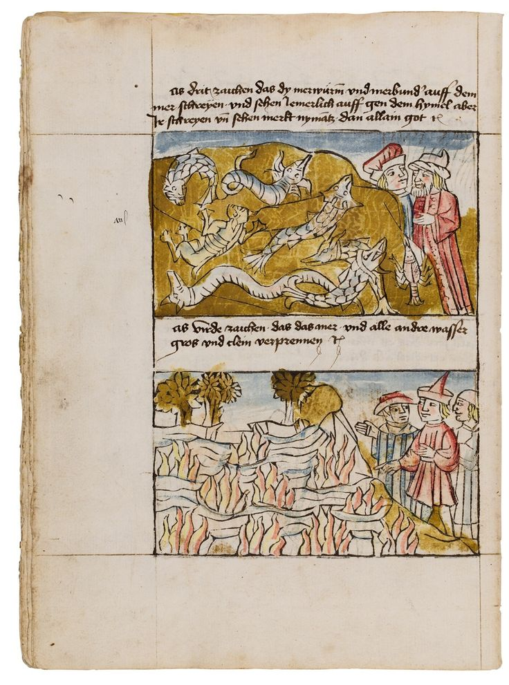"First edition. Moreover, the only traceable complete copy of this edition and one of the earliest blockbooks extant. ""Der Antichrist und die fünfzehn Zeichen vor dem Jüngsten Gericht"" consists of a cycle of illustrations with explanations detailing the life of the Antichrist and describing the Last Judgement in the 'Fifteen..."