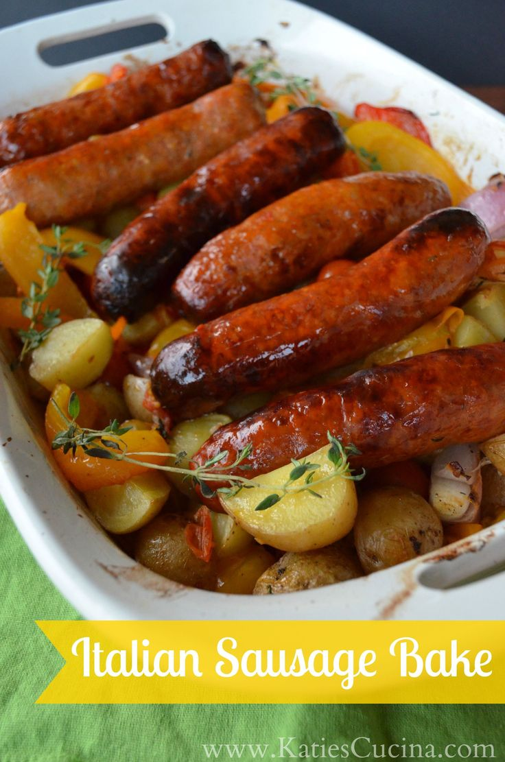 Best meal for a cold winters day! Easy to make and the whole house smells amazing! Italian Sausage Bake from KatiesCucina.com