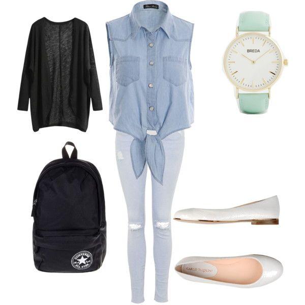 school outfit #7 by paty-porutiu on Polyvore featuring polyvore fashion style Topshop Carlo Pazolini Converse Breda