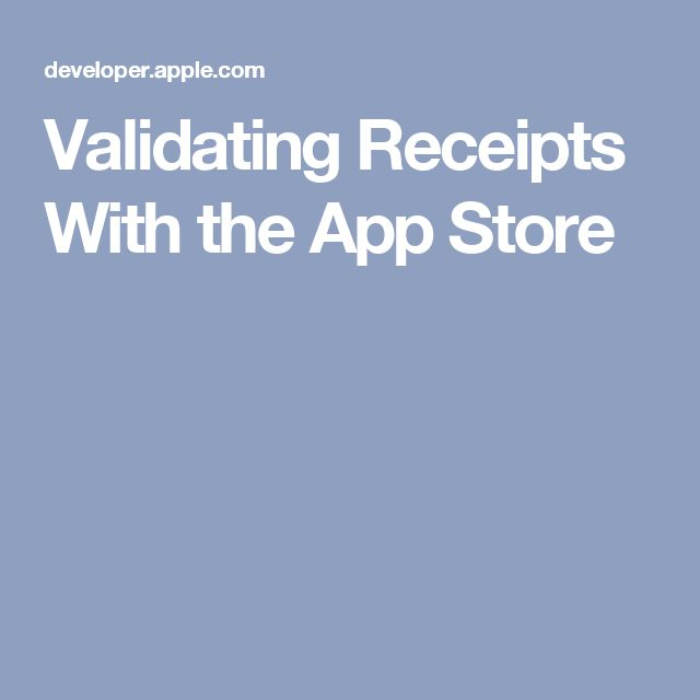 Validating Receipts With the App Store