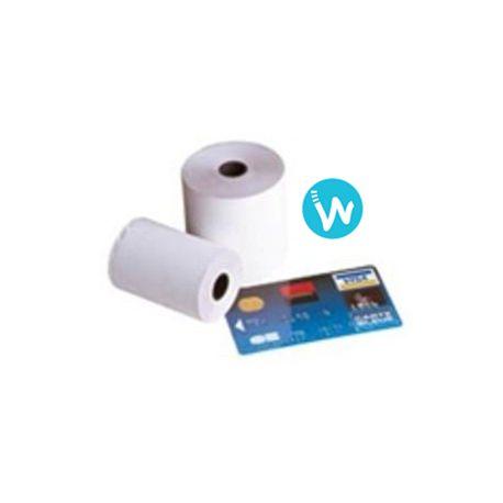 Carton de 50 bobines de papier thermique 57 X 40 sans Bisphenol A. Envoi très rapide syr www.waapos.com, le spécialiste de l'encaissement et des TPV