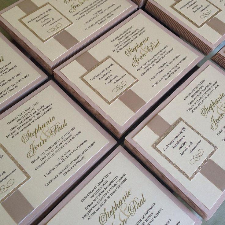 do you invite officiant to wedding reception%0A Blush  u     Gold invitations ready to set the tone for Stephanie  u     JeanPaul  romantic wedding