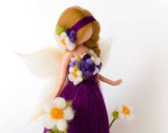 exclusive spring blossom Petruska fairy, purple, needle felted, waldorf fairy, needle felting, home decor, ornament, flowers, felt, wool