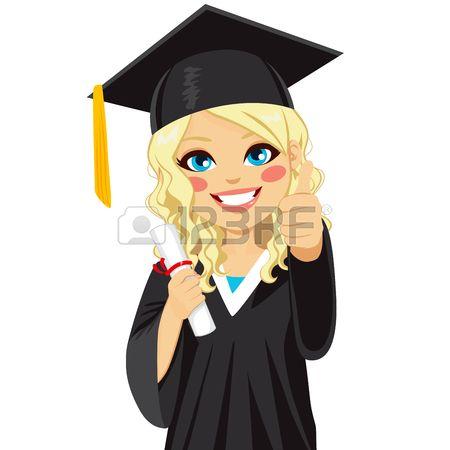 Muchacha rubia hermosa en d a de graduaci n con diploma y hacen los pulgares en se al de mano Foto de archivo