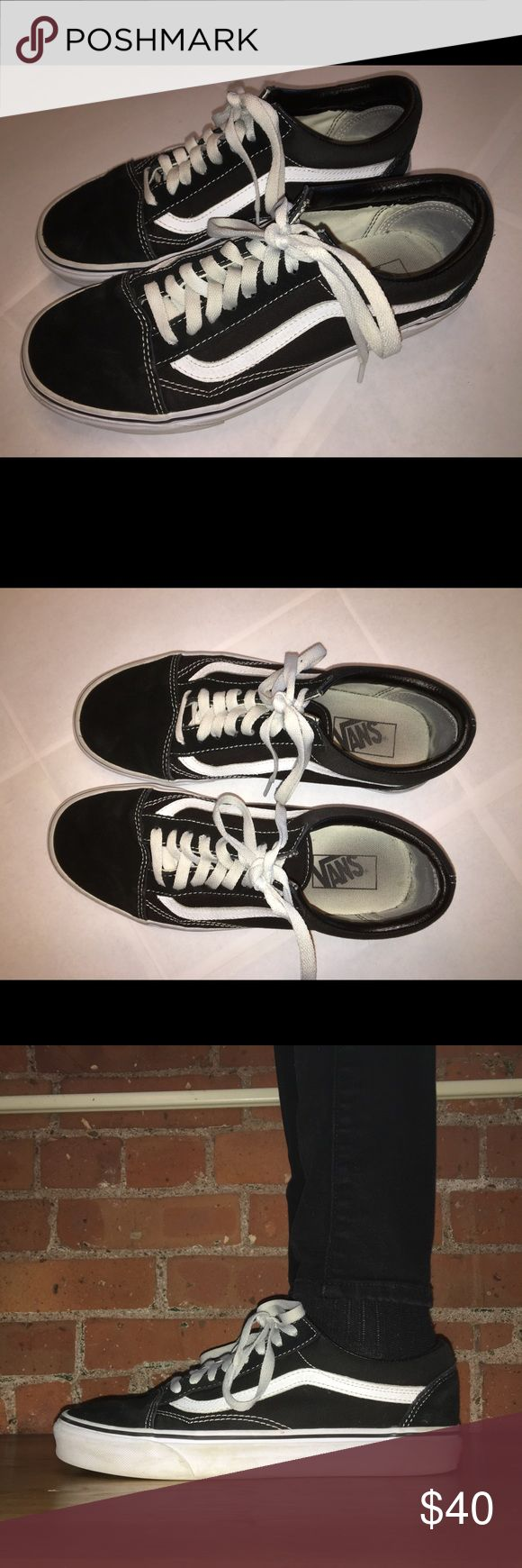Vans Old Skool Black/White Old Skool Vans in black with white.  - Men's 8 - In great condition - Worn several times, but not very often - Very versatile  ALL SALES ARE FINAL NO TRADES Vans Shoes Sneakers