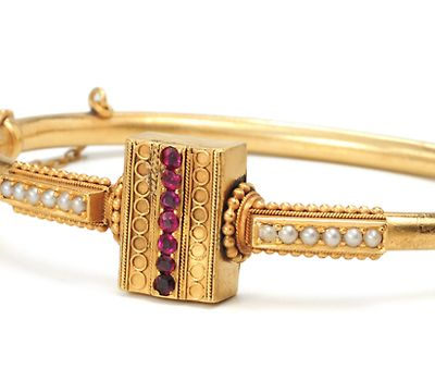 Antique Gold Bangle with Rubies & Seed Pearls - Victorian era
