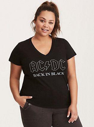 Plus Size AC/DC Logo V-Neck Tee, DEEP BLACK
