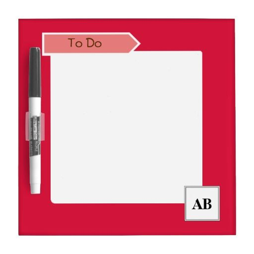 Crimson red solid color with monogram Dry-Erase whiteboard