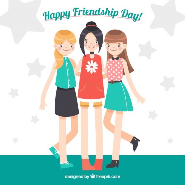 Download Friendship Day Background With Three Girls For Free