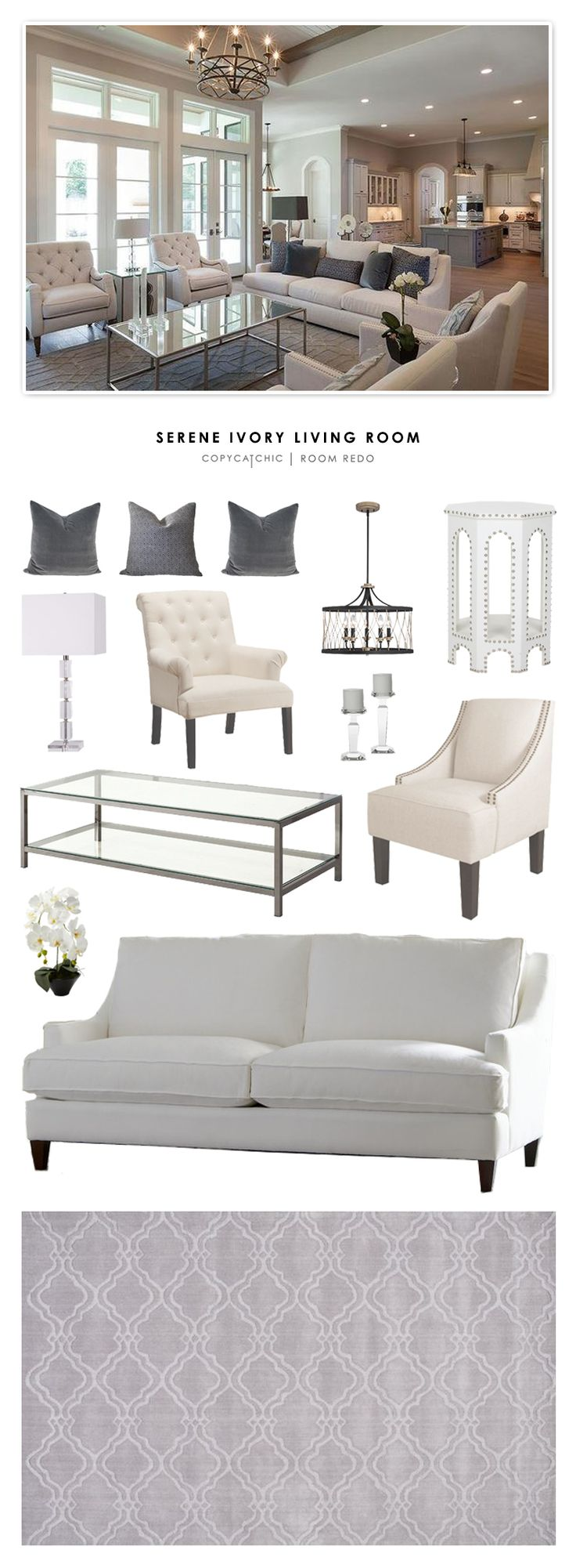 Copy Cat Chic Room Redo | Serene Ivory Living Room
