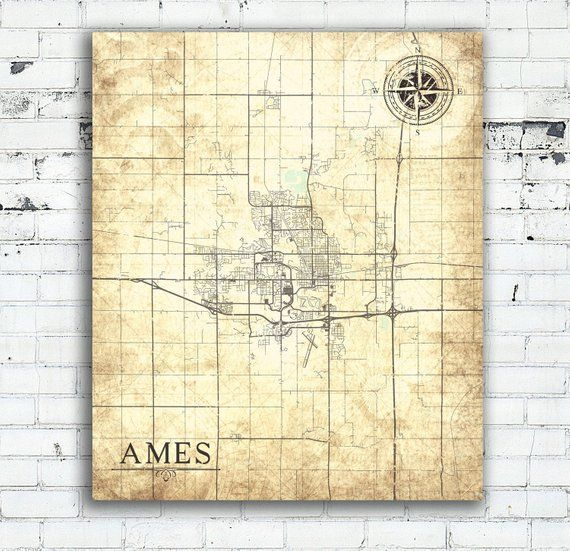 AMES IA Canvas Print Iowa Vintage map Town Plan Simple art Iowa Ia