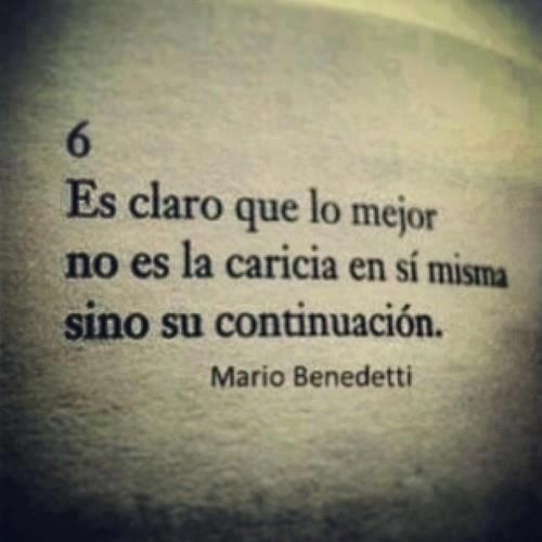 """It is clear that the best it is not the caress itself but its continuation.""  -  'Sobre caricias', by Mario Benedetti"