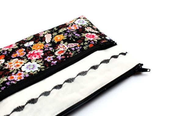 Sale Floral Embroidery Pencil case/ Makeup Bag 19.5cm x