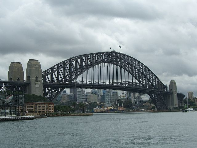 Sydney Harbour Bridge on a cloudy day.  See the teeny tiny people on the very top? You can climb the bridge - great view looking back at the city from way up there.