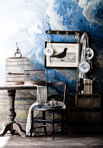 love the blue, and slightly dark ambienceBirds Cages, Birds Theme, Living Room Design, Blue Wall, Interiors Design, Birdcages, Wall Treatments, Texture Wall, Design Home