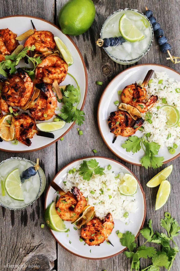 Grilled Margarita Shrimp Kebabs from /farmgirlsdabble/