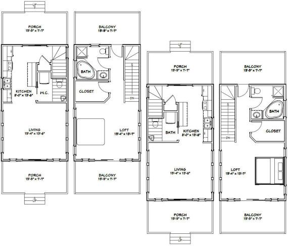 16x28 tiny houses 1 bedroom 15 bath pdf by for 15x28 house plans
