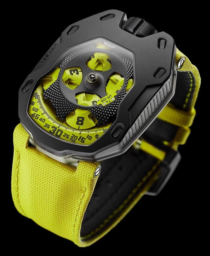 """Urwerk UR-105 TA 'Turbine Automatic' Watches In Fancy Colors - by Ariel Adams - see & read more now on aBlogtoWatch.com """"With the new-for-2015 Urwerk UR-105 TA collection, the Swiss brand is making one of their most appealing timepiece collections even better. In 2014, Urwerk first unveiled the UR-105M watches which introduced a great new design as well as a new entry-level price point for the brand. The next model in the family is the Urwerk UR-105 TA 'Turbine Automatic Knight Watches,'…"""
