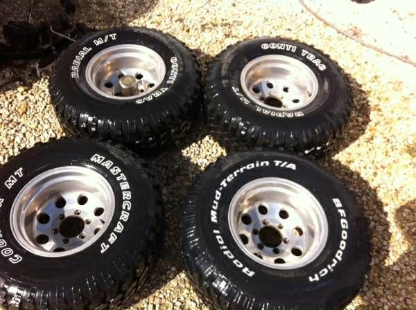 33x12.50x15 Mud Terrain Tires on 15x10 Aluminum 6 Lug Rims. Fit 4x4 Chevrolet and Toyota 4x4 . One is like new, two are very good, and one has weather cracks. $350