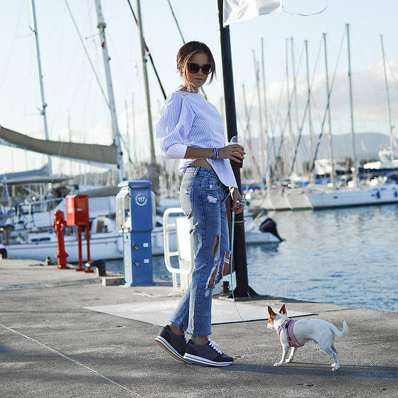 Get this look: http://lb.nu/look/8612653  More looks by Tamara Bellis: http://lb.nu/tamarabellis  Items in this look:  Gamiss Blouse, Zaful Jeans, Pull & Bear Sneakers, Zaful Bracelet, Zaful Sunglasses   #casual #chic #street